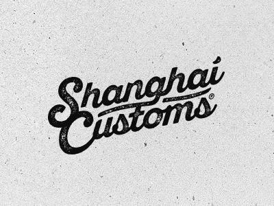 Shanghai Customs brand bike motocycle motors grunge vintage icon custom letters logo