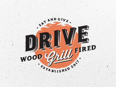 Drive Grill fired wood grill custom brand vintage logo