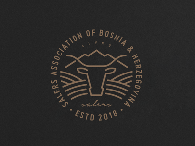 Salers Association of Bosnia & Herzegovina field farm breed bull cow branding icon design logo