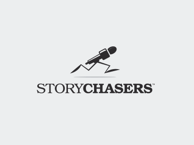 StoryChasers chasers mic simple branding brand icon design tbt logo