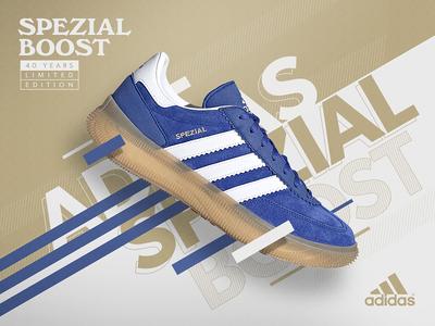 Adidas Spezial Boost ad design billboard sports classic photoshop spezial adidas advertising custom vintage design