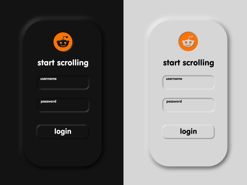 Reddit Neomorphism Login minimal redesign mobile design soft light ui dark ui neomorphism design mobile login page reddit