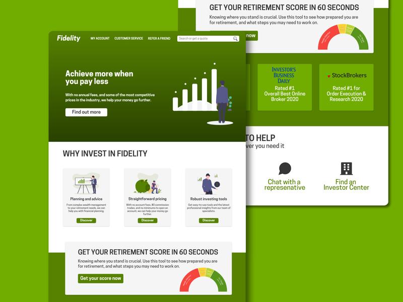Fidelity Redesign 2020 typography ux minimal minimalistic green affinitydesigner illustraion uiux ui web design design fidelity webdesign
