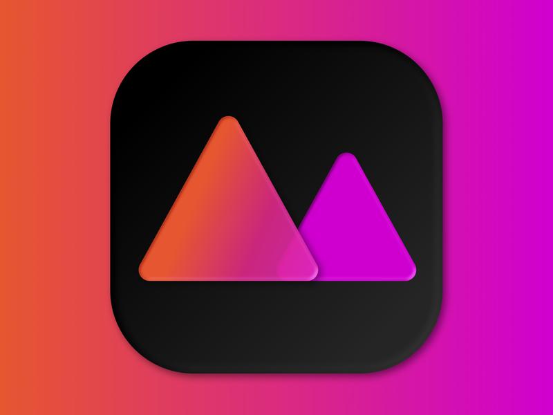 MacOS Big Sur Darkroom Icon 3d minimal rebound pink orange gradient darkroom vector design icon design icon macos big sur