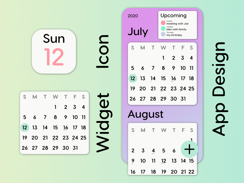 Calendar Mobile App Design icon icon design widget iphone app pastel typography app design app layout uxui ui ux design calendar