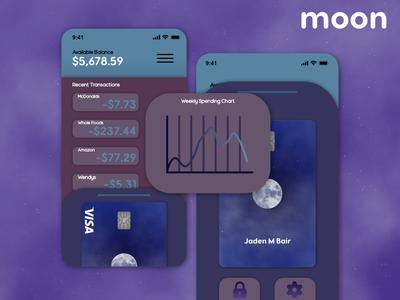 Wallet App Concept - Moon flat illustration affinitydesigner branding ux ui wallet ui mobile app mobile app credit card design wallet app wallet
