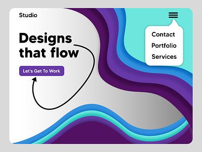Design Studio Landing Page landing page minimal illustration ui ux affinitydesigner branding typography website concept design web web design website design studio