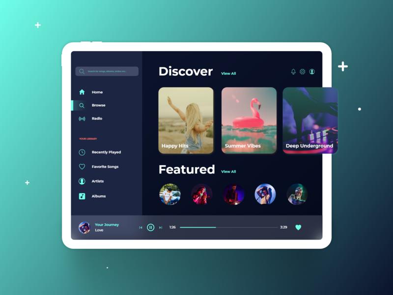 Daily UI 009 - Music App music ipad mockup uiux ux ui app design mobile app ipad app music player app