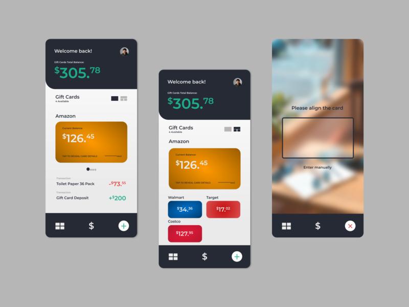 Gift Card Manager Concept design uiux app branding apple blur blur adobe xd mobile design ui ux banking app uxdesign uidesign ux ui app design
