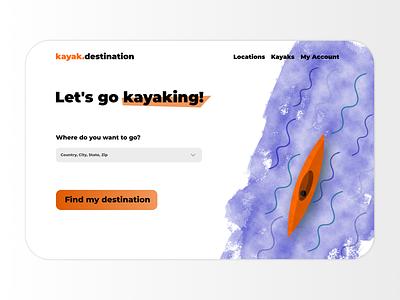 Kayaking Destination Landing Page uiux branding landing page concept illustration webpage design web design call to action ux ui landing page design design landing page kayaking