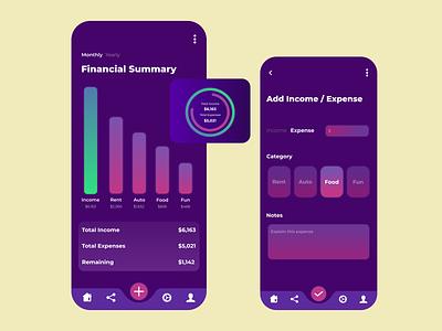 Financial Summary Application Idea branding web design web app uiux design ux ui mobile finance app design bank application financial application mobile application mobile design