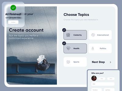 News Sign Up branding uiux web design web app design minimal adobexd adobe xd sign up ux ui ui design web design website web app news app