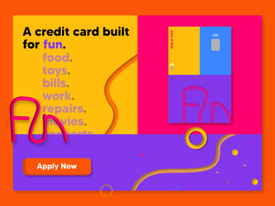 Credit Card Landing Page - Fun logo fun branding illustration 3d ux ui landing page concept banking credit card landing page design web design web design landing page