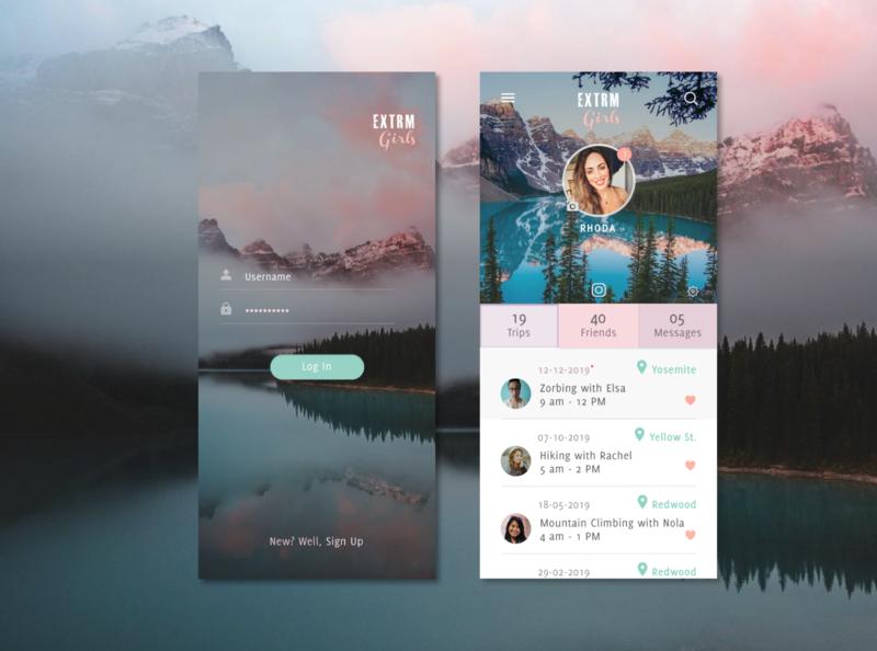 Mobile App interface for feminine brand branding ux typography app ui design dailyui 001
