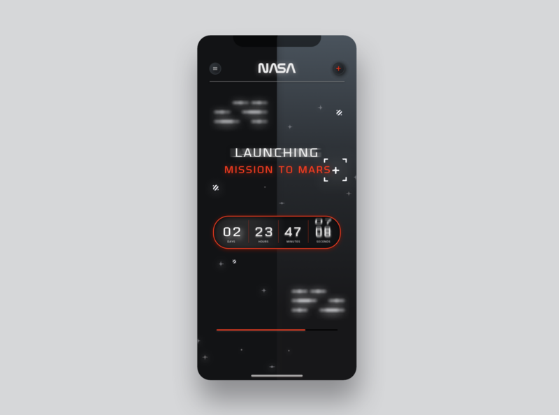 UI Mobile App for NASA countdown timer - Dark interface dark theme dark interface sci-fi dark ui dark app dark mode countdowntimer nasa ui design dailyui