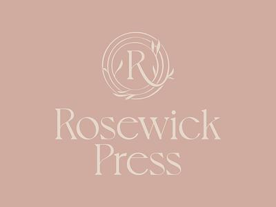 Rosewick Press wreath floral rose branding classical publisher monogram logo printer press
