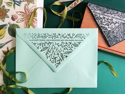 Oversized Return Address Stamp! envelope wedding stamp rubber stamp floral flowers return address invitation