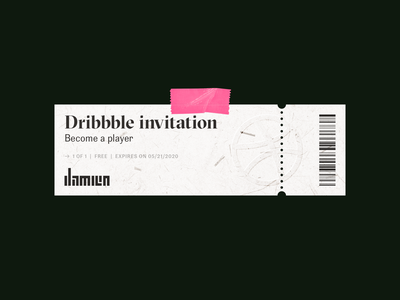 Dribbble invite to grab embossed tape paper texture ink print lettering typogaphy pink skeumorphism ticket invitation invite dribbble invitation dribbble invite dribbble