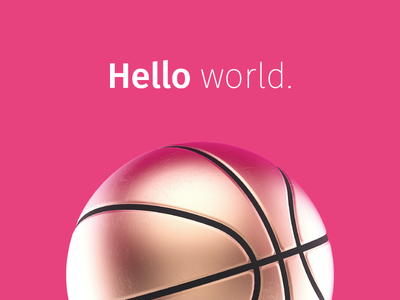 Hi Dribbblers… gold dribbble invite basketball ball pink damien 3d welcome