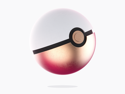 Copper Ball modeling pokemon pink ball rendering 3d copper faivre damien pokeball