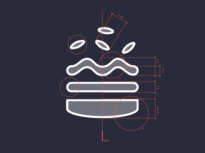 Technical burger icon blueprint technical illustration vector red faivre damien burger
