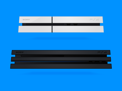 Vector PS4, Slim & Pro white blue illustration vector freebie gaming ps4 pro ps4 slim ps4