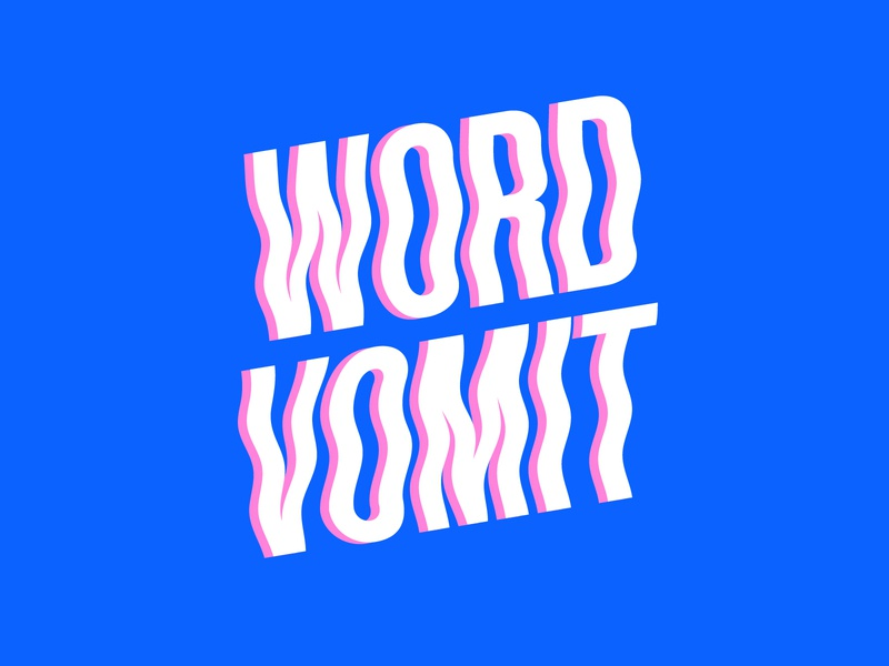 Word Vomit: The Podcast broadcast lettering design illustration branding wiggle audio blue pink photoshop typography type vector podcast logo