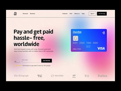 Redesign of Revolut.com webflow gradient card revolut ui fintech ux layout