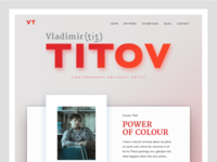 Promo website for an Artist branding ui  ux design abstract red layout art