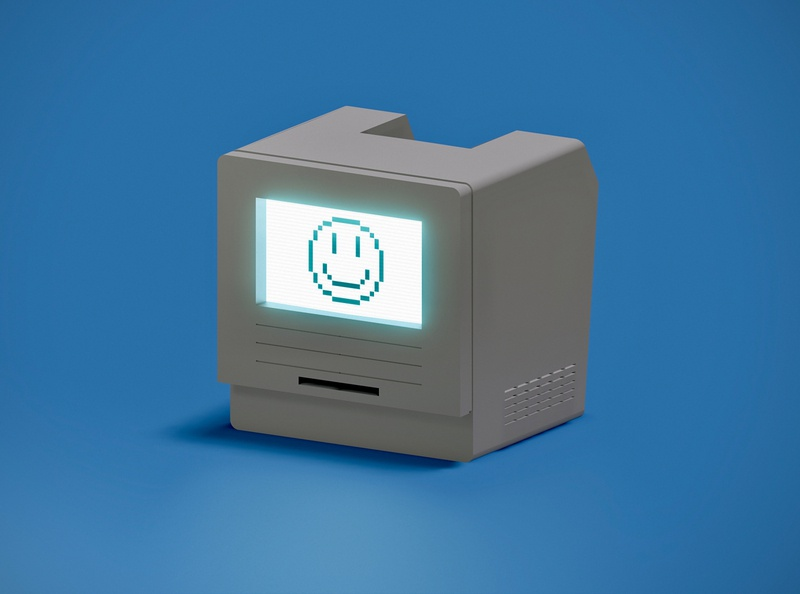Happy Computer blender happy face retro computer 3d