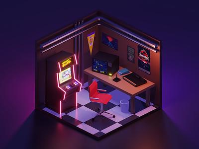 Retro Gamer Room isometric gamer 3d