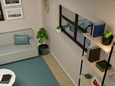 Low Poly Living Room blender3d