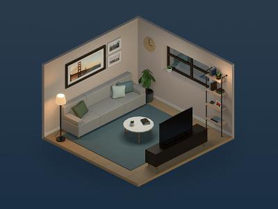 Isometric Living Room 3d room blender3d living room