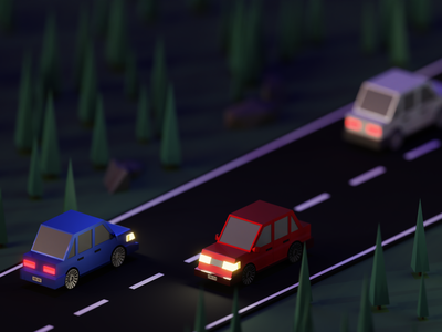 Nighttime Drive drive car night blender 3d