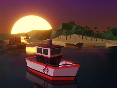 Boat blender 3d sunset boat