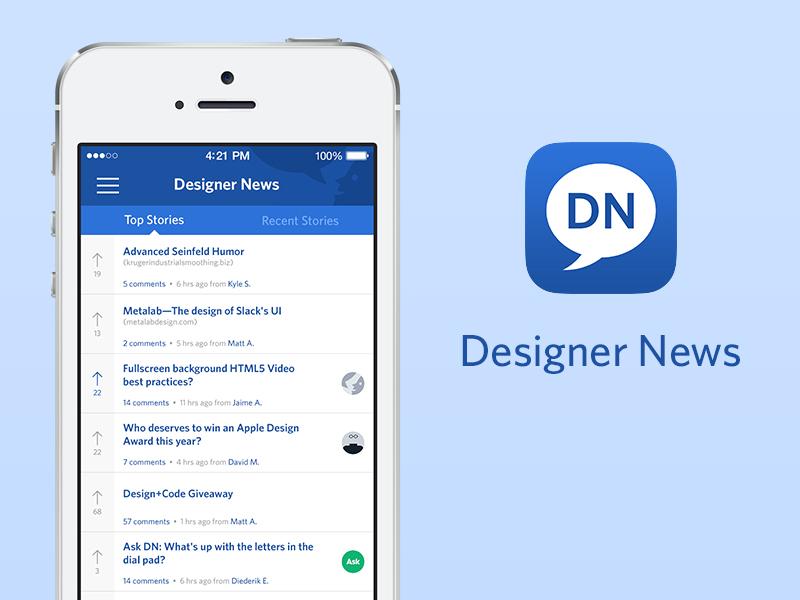 Designer News iPhone App design news iphone app blue white simple