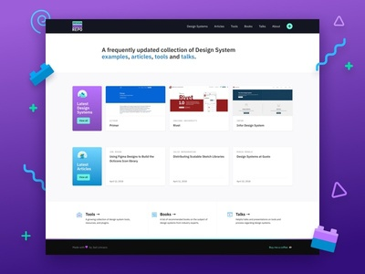 Design Systems Repo purple resources articles tools website design system