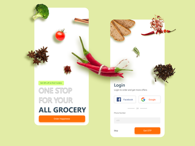 Grocery App UI Design icon logo illustration animation web ux branding ui soft ui first design typography app design