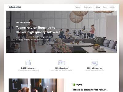 Bugsnag Customer Stories errors error monitoring bugsnag editorial icons website design web design customer stories