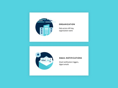 Settings Illustrations for Company and Email Notifcations bugsnag company data api notifications email spot illustration icon organization illustrations
