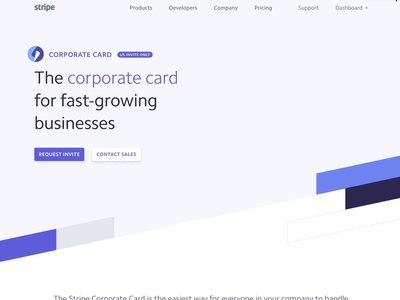 The Stripe Corporate Card corporate card animation credit card landing page card design