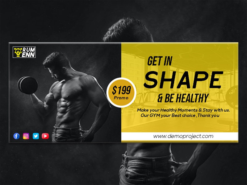 Fitness facebook cover banners social gym fitness banner fitness