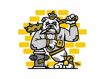 Bulldog coffee mascot street dog acab baseball bat gangster bandit bulldog vector illustration illustrator