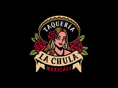 La Chula pretty girl flower branding illustration vector mexico taqueria food tacos chula