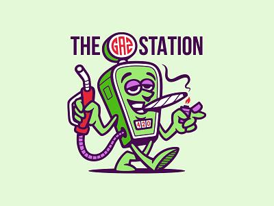 The Gaz Station california fire station gas dispensary vector art smoke 420 weed illustration vector