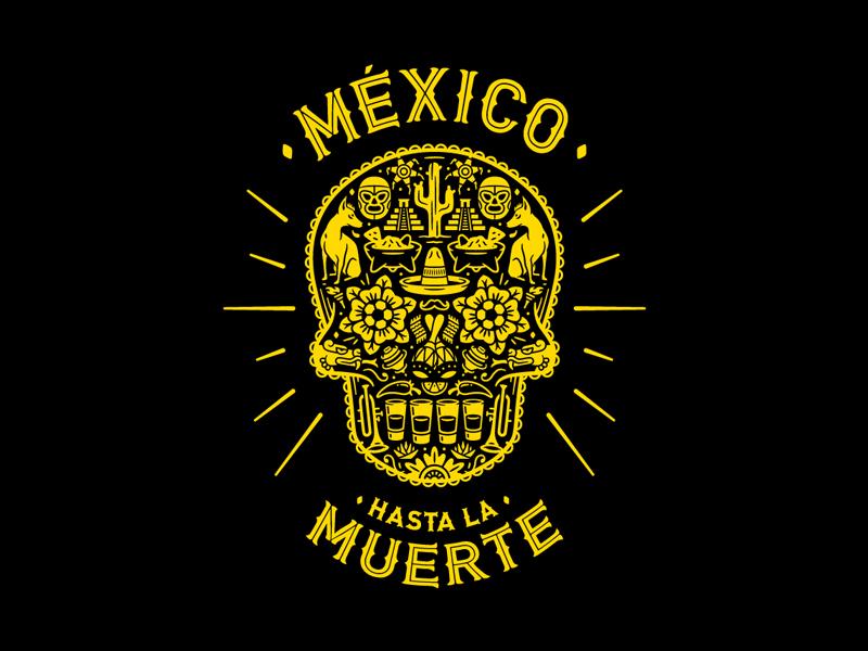 Mexican proud lucha tequila muerte calavera mexican proud sugar death skull illustration vector mexico