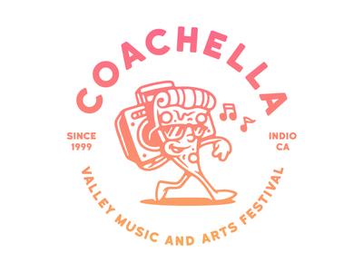 Coachella Pizza shirt merchandise cap style arts festival music coachella boombox pizza vector illustration