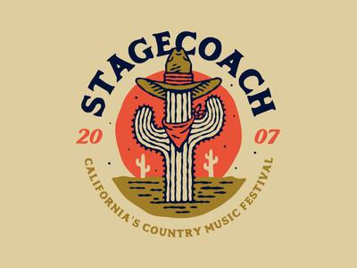 Stagecoach 2016 illustration vector california desert sun hat cowboy cactus western music festival country