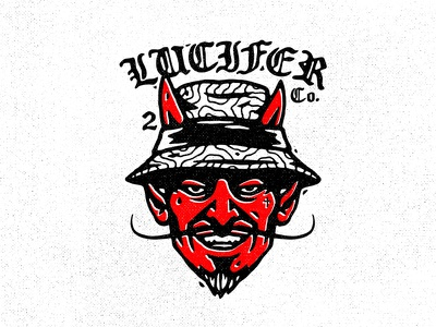 Lucifer Co. loteria moustache hat fisher hell devil vector illustration lucifer
