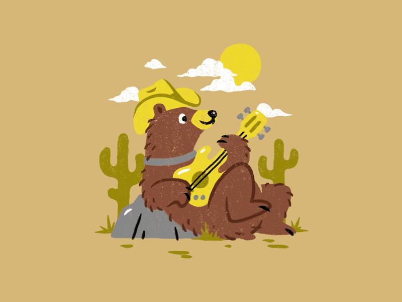 Playing Guitar animal hat cactus rodeo cowboy music guitar desert country bear brush illustration